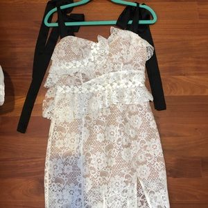 For Love and Lemons lace white embellished dress